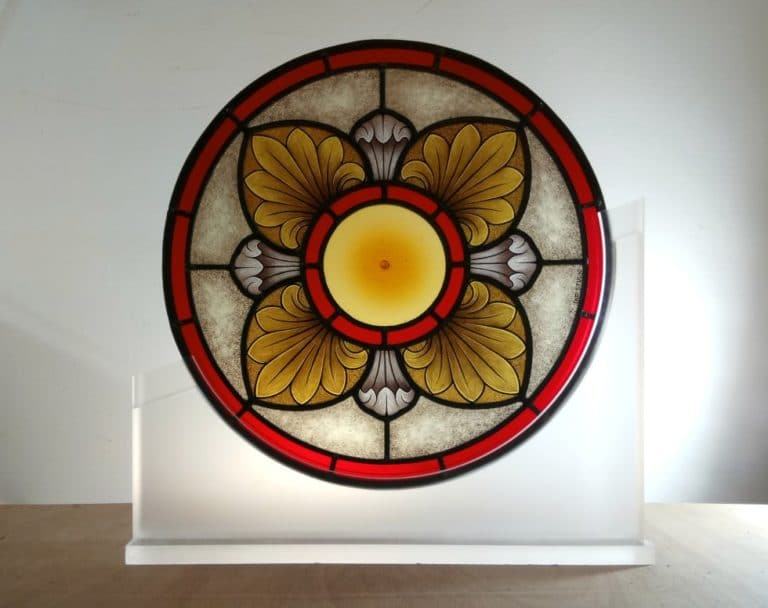 Gothic rose window with blown spun roundel