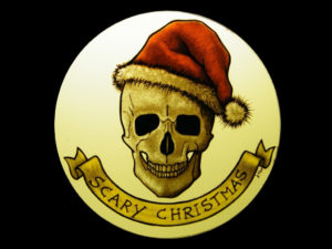 Skull with Christmas Hat