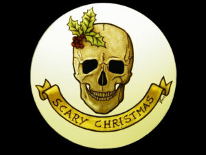 Chirstmas Skull with Holly