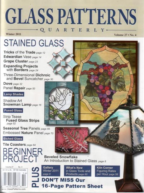 Copertina della rivista di vetrate artistiche Glass Patterns Quarterly con pubblicazione Iko Studio, vetrata di Diego Tolomelli