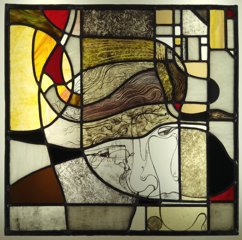 Contemporary stained glass with face