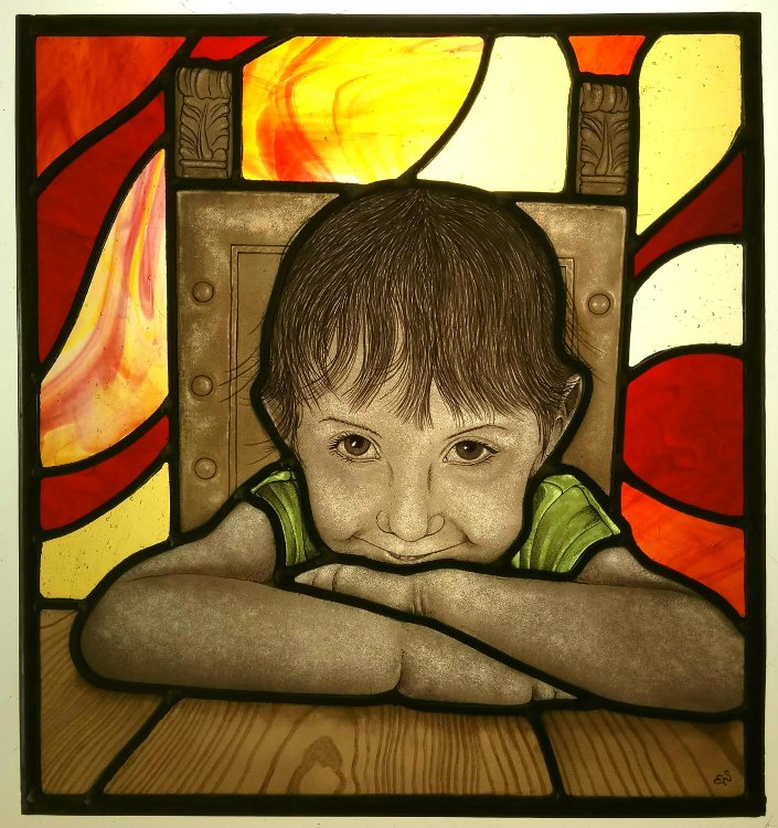 Stained glass girl portrait