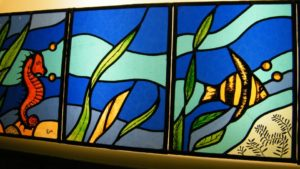 Leaded stained glass with fish