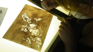 Glass painting course at Villa Fabris dog