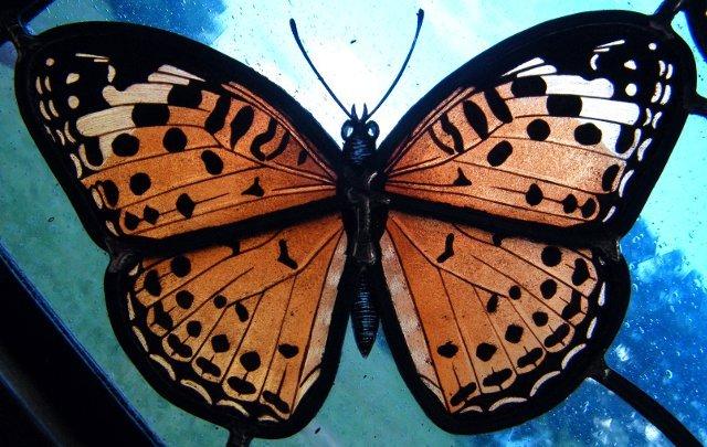 Varfalla vetro dipinto arancio
