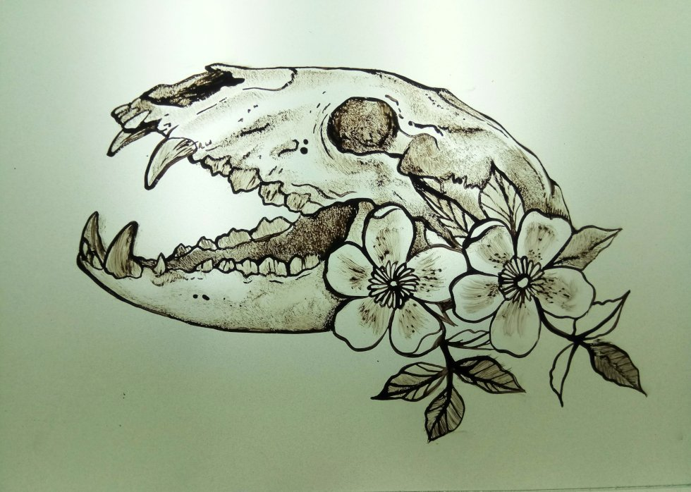 Glass Painting Skull and Flowers