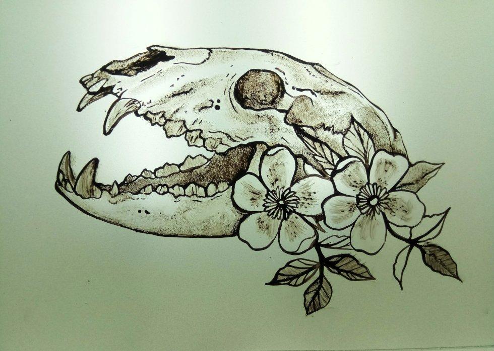 Clase de Grisalla Calavera con Flores