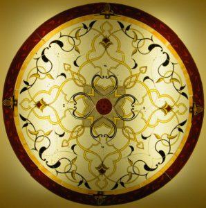 Vetrata artistica in stile arabo e islamico, con giallo argento e smalti, pronta per essere tessuta a piombo