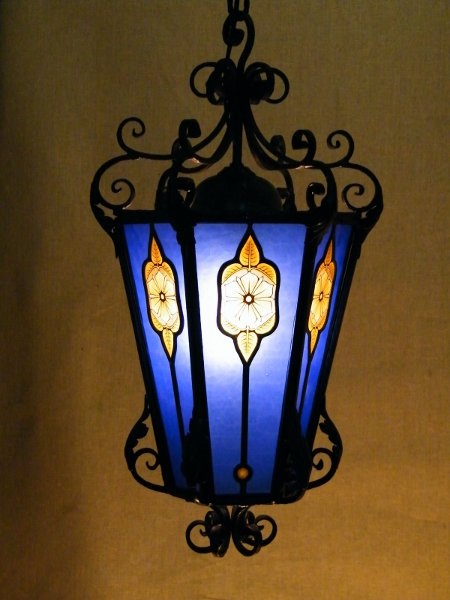 Wrought Iron & Stained Glass Lamp