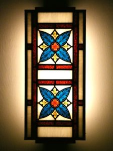 Blue and Red Gothic Wall Lamp