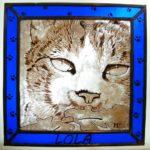 Vitral con Retrato de Gato