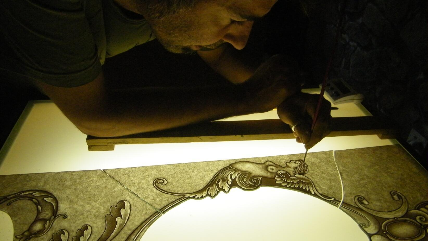 Hand painting a traditional stained glass