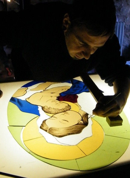 Diego Tolomelli painting on stained glass
