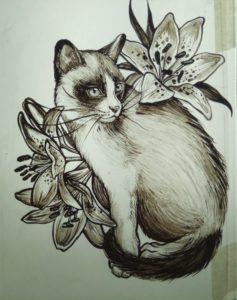 Painting on Glass Cat with Lilies