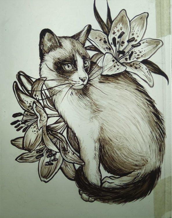 Pittura su Vetro Gatto con Gigli