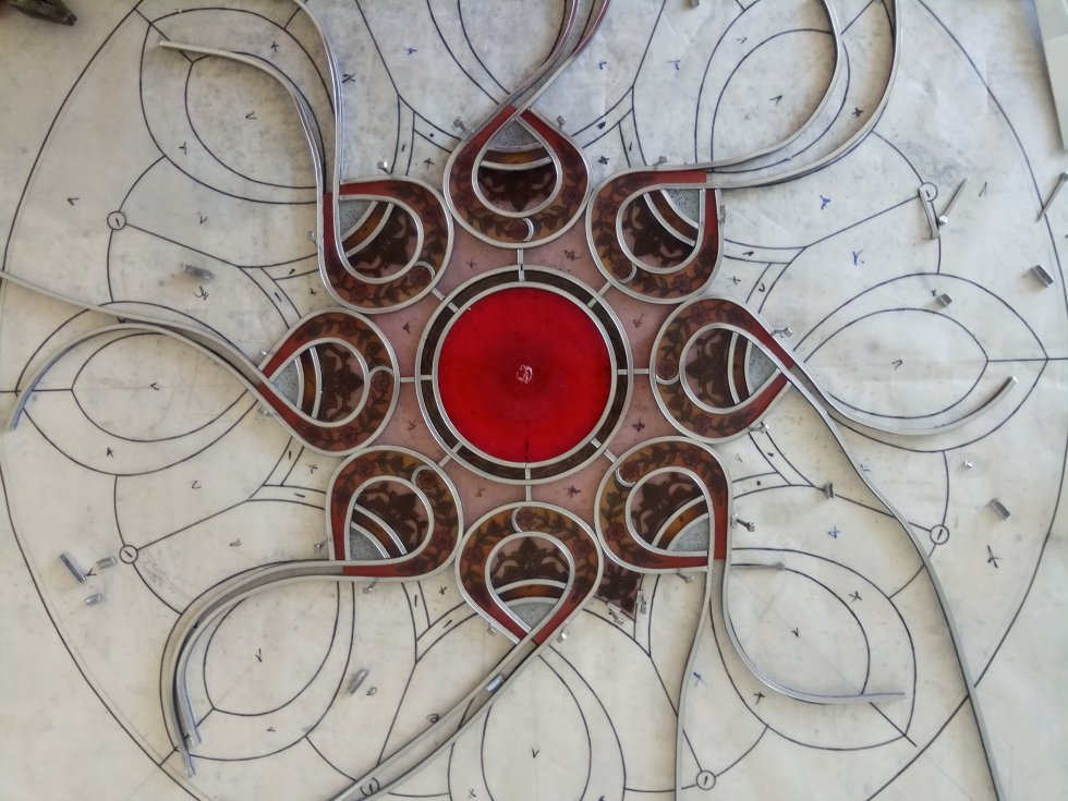 Islamic Rose window - painting on glass