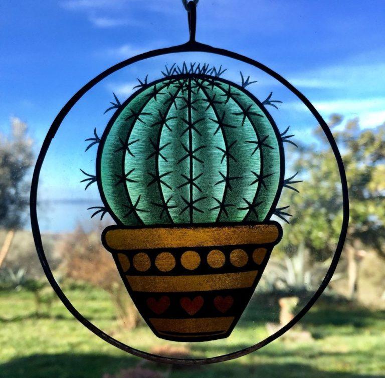 Suncatcher Cactus Palla Pittura Su Vetro