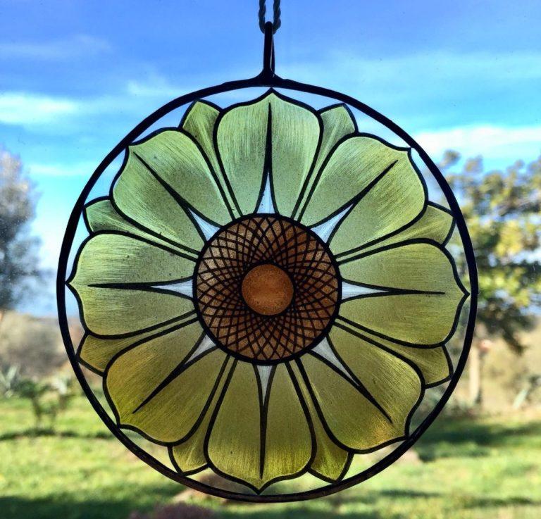 Suncatcher Fiore giallo Vetro Dipinto