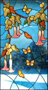 Butterflies Stained Glass Door