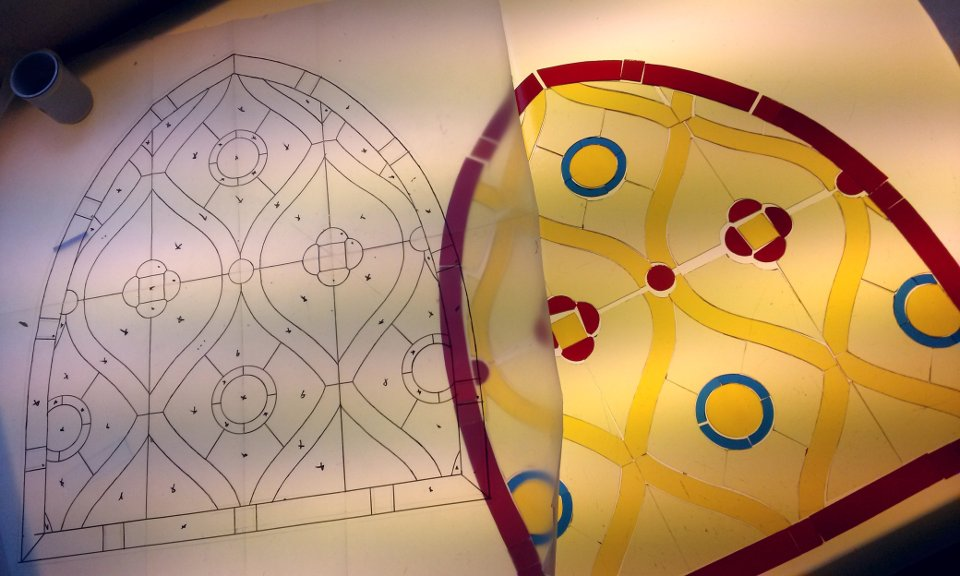 Arch Top Gothic Stained Glass Work in Progress