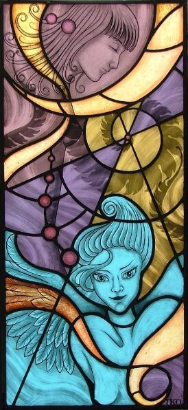 Angel and Spirals Stained Glass Window