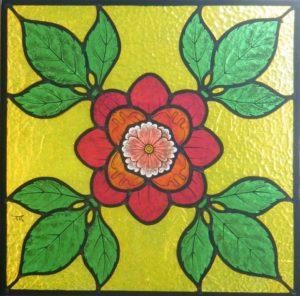 Vitral con flor rojo