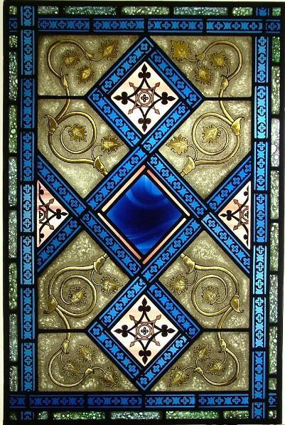 Blue Painted Stained Glass Gothic Window