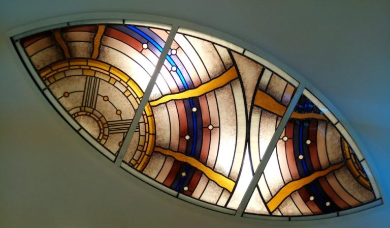Modern Almond Shaped Stained Glass Window