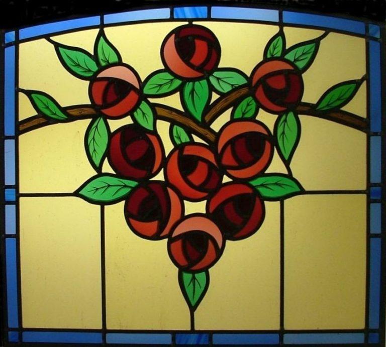 Vitral Modernista con Rosas
