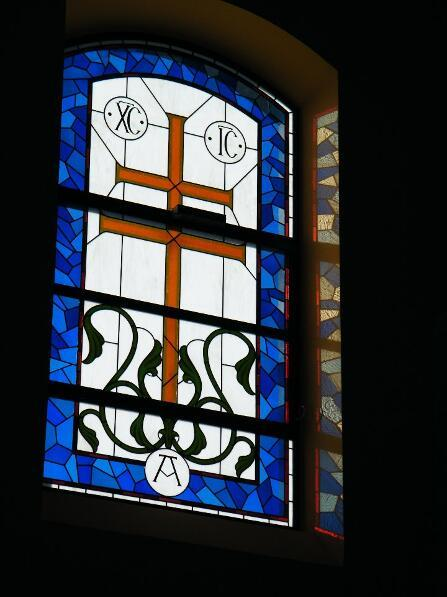 Stained Glass Window Rome With Cross