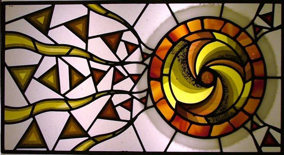 Contemporary Spiral Stained Glass Window