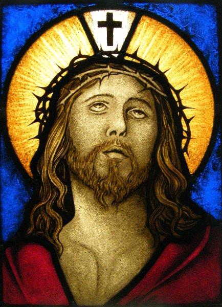Vitral con rostro de Cristo