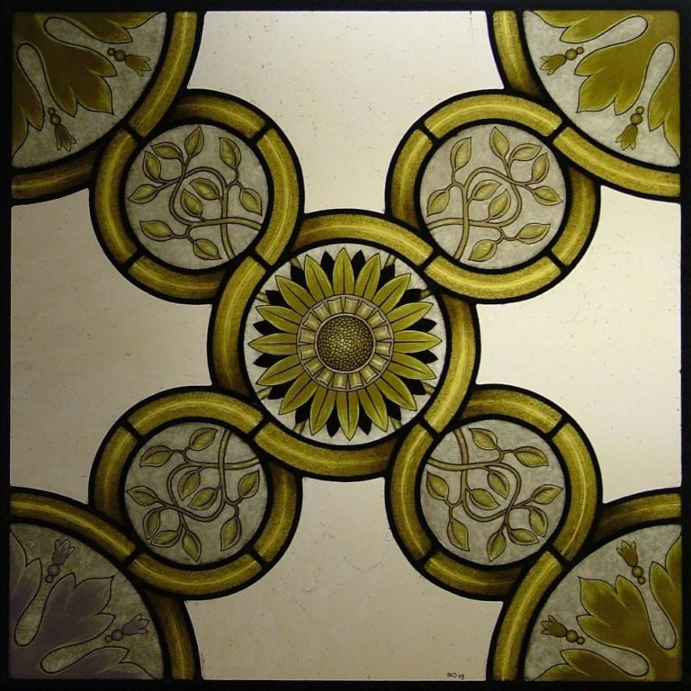 Yellow Gothic Design Stained Glass