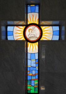Religious Stained Glass with Cross