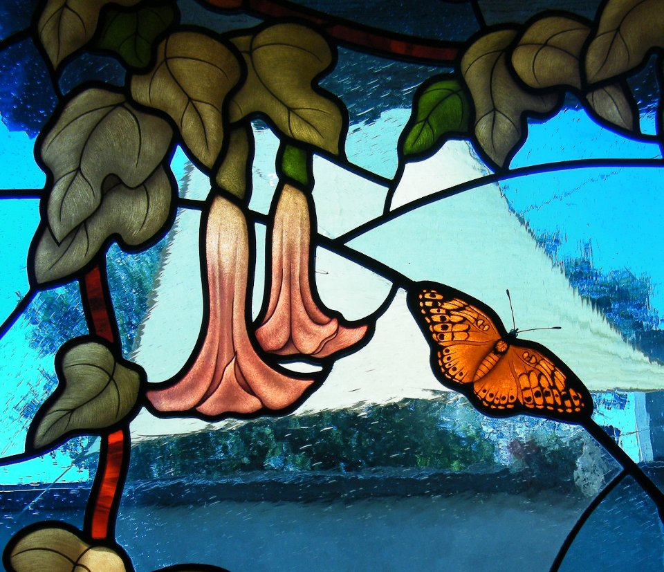 Leaded Stained Glass with Butterflies Detail