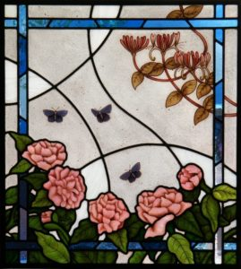 Stained Glass Window with Peonies
