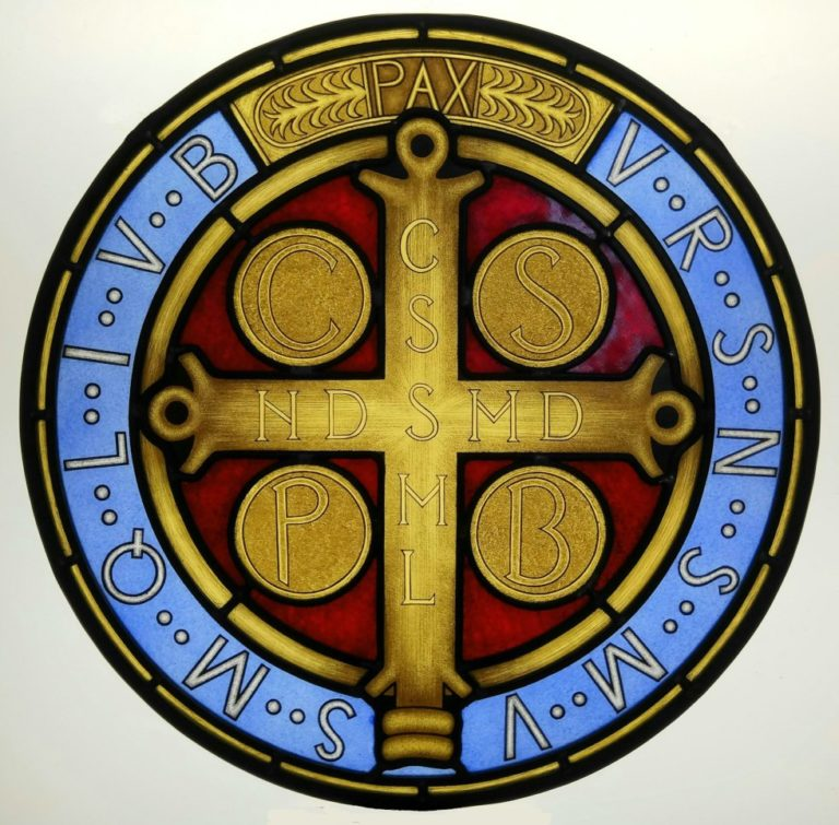 Stained Glass Window with Saint Benedict Cross