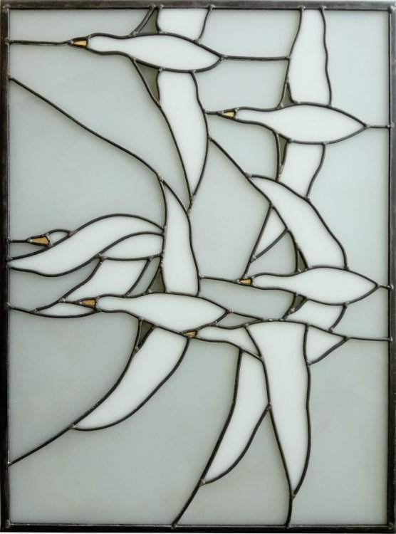 Stained glass with wild geese