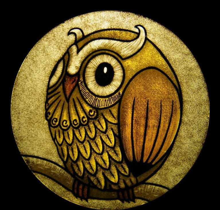 suncatcher stained glass representing a owl, kiln fired glass painting, made in Italy by Ikostudio, Italian stained glass