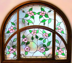 Arched Stained Glass With Pink Flowers