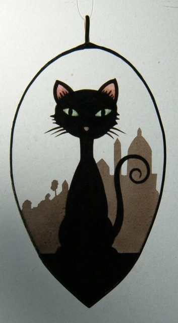 Hand painted stained glass sun catcher representing a cat with a Italian background, made in Italy by Ikostudio
