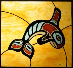 Vitral Moderno con orca Precolombina