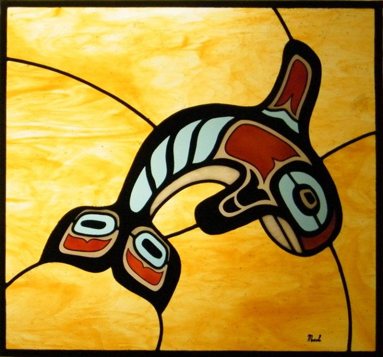 Vetrata artistica, orca, arte sudamericana, arte Maya, corso di vetrate artistiche, grisaglia, vetrata artistica moderna, vetrata a piombo, finestra, porta, porta scorravole