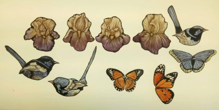 Pittura su Vetro Fiori Farfalle Uccelli
