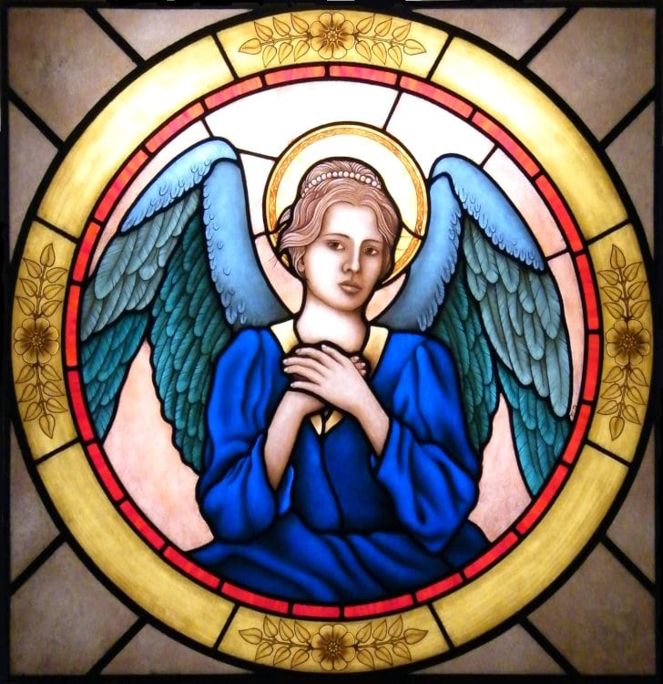 Angel stained glass window