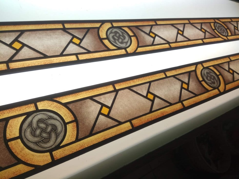 Handcrafted door with stained glass panels