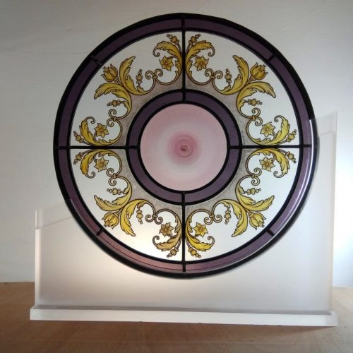 Baroque stained glass with spun roundel