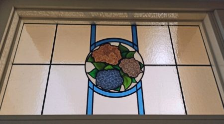 Hydrangeas stained glass detail