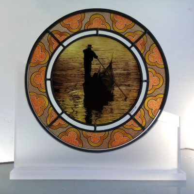 Venice Gondola in Stained Glass